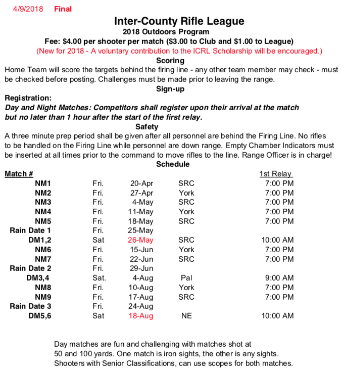 Inter-County Rifle League outdoor match @ York Riflemen | York | Pennsylvania | United States