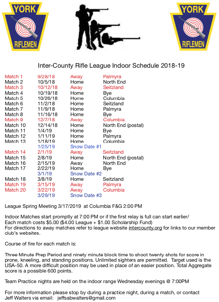 Inter-County Rifle League 2018-2019 indoor match schedule @ York Riflemen