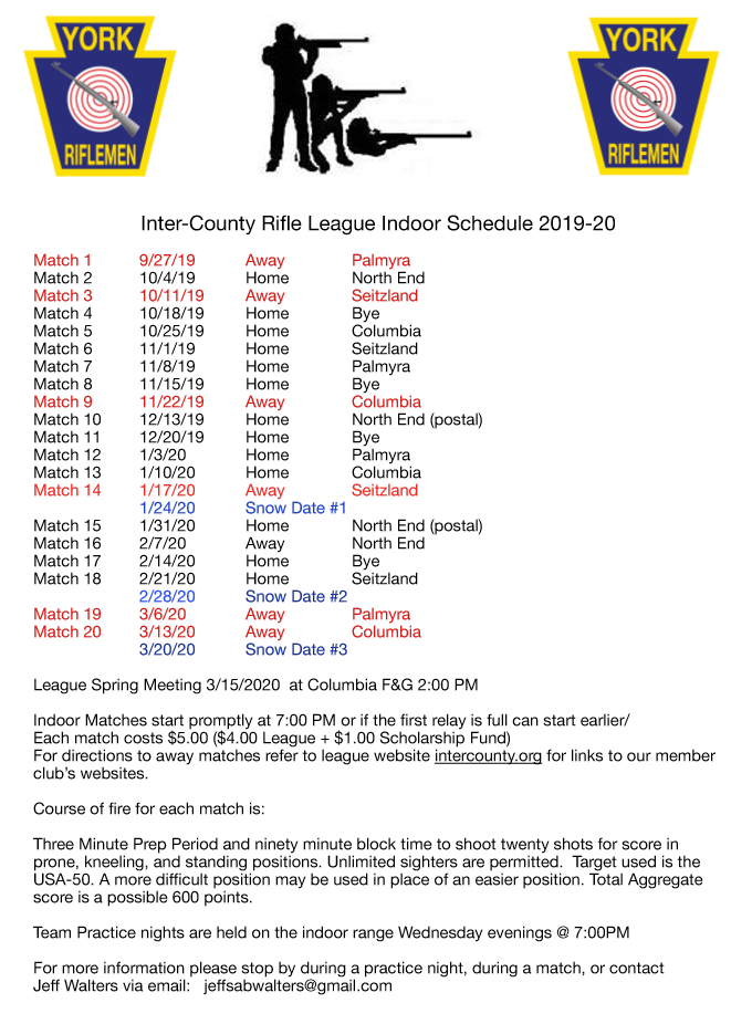 Inter-County Rifle League 2019-2020 indoor match schedule